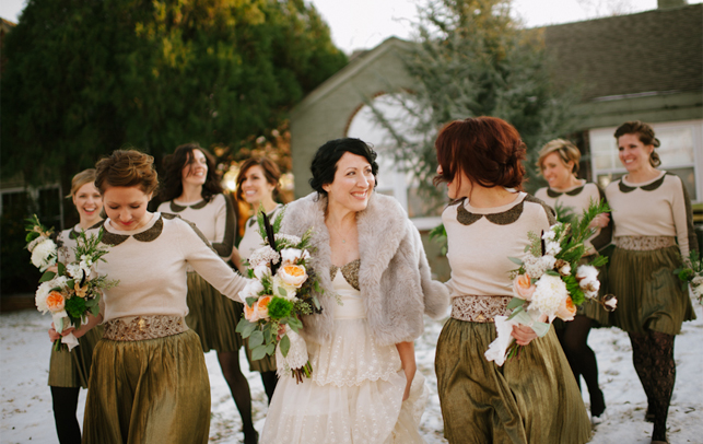 bridesmaids in jumpers