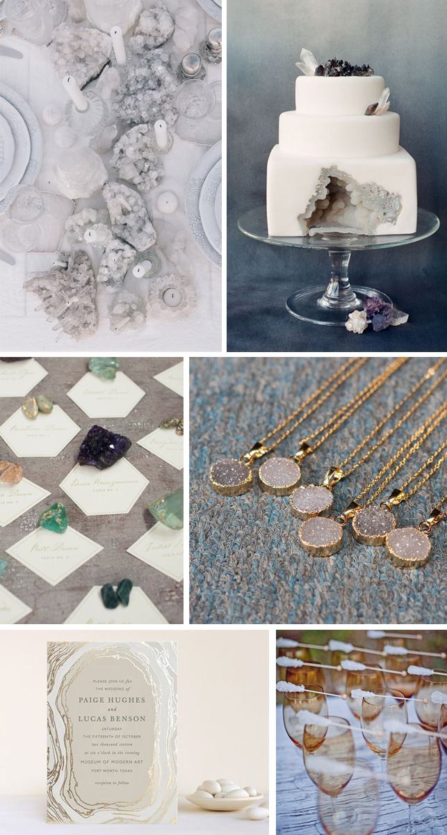 Crystal wedding theme images wedding decoration ideas wedding accessories monday moodboard gorgeous geode wedding inspiration miss bush blog junglespirit Image collections