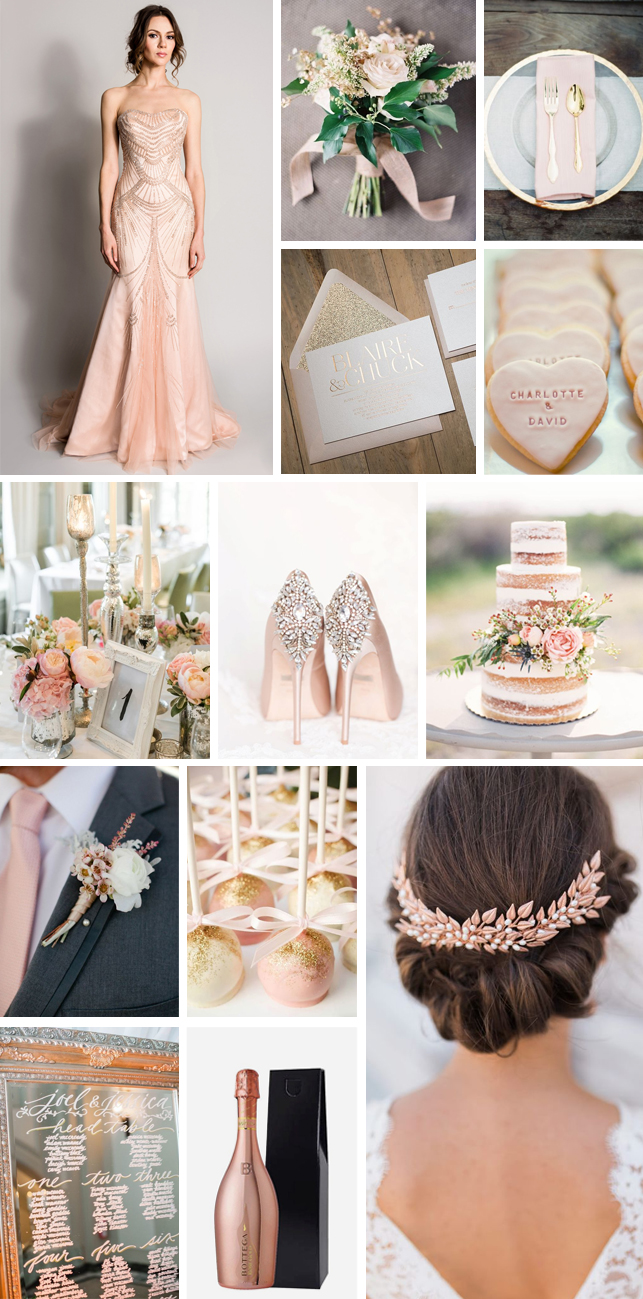 Monday Moodboard - Rose Gold and Blush Wedding Inspiration - Miss ...