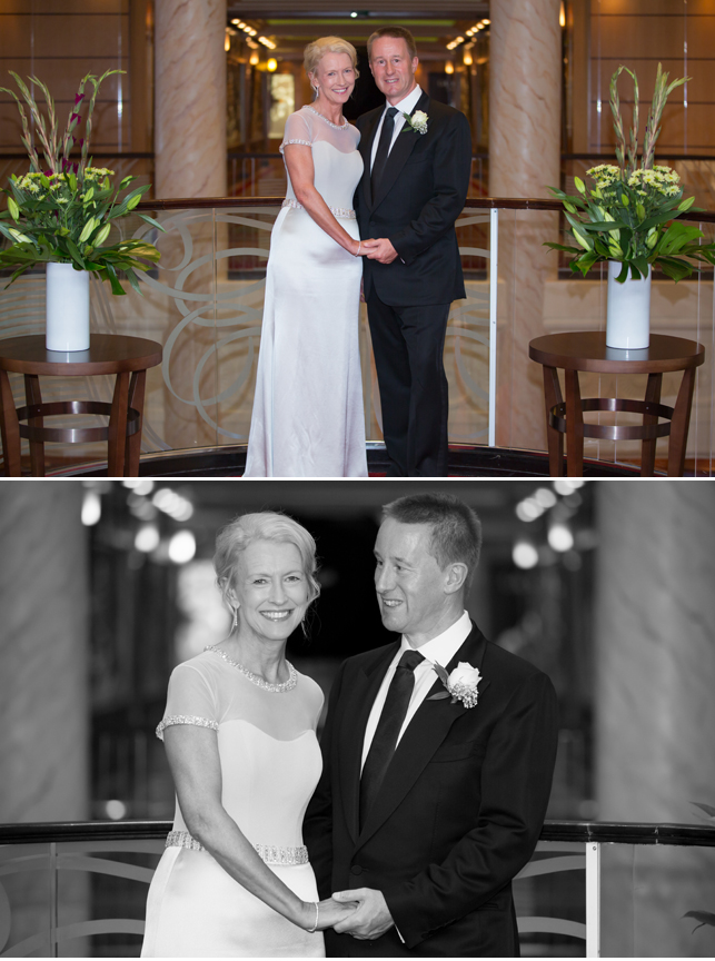A silver wedding vow renewal - Nicola wearing bespoke Suzanne ...